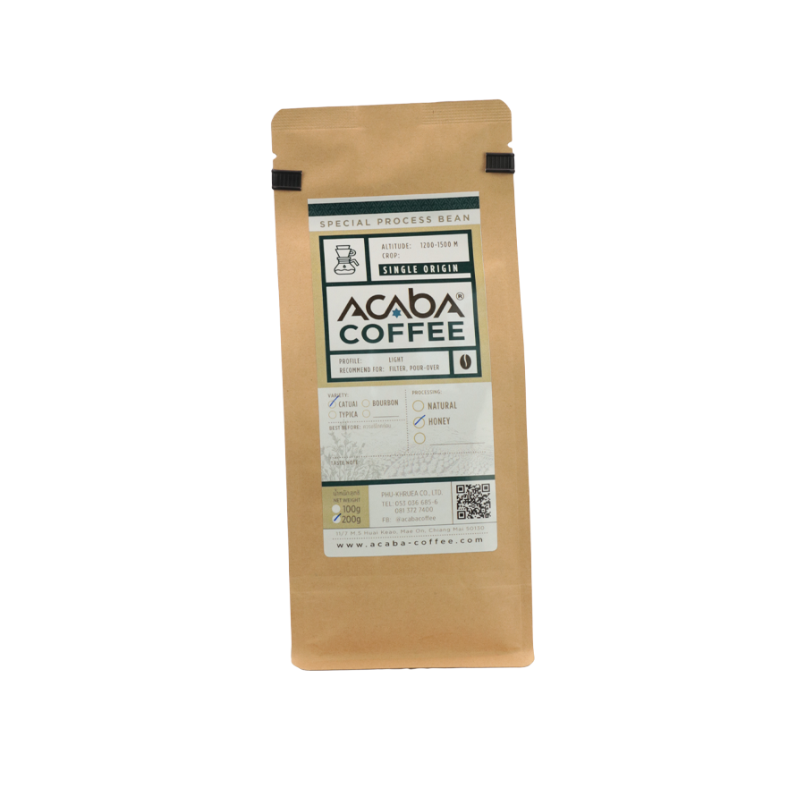 Honey process เมล็ดกาแฟคั่วอ่อน 200 กรัม